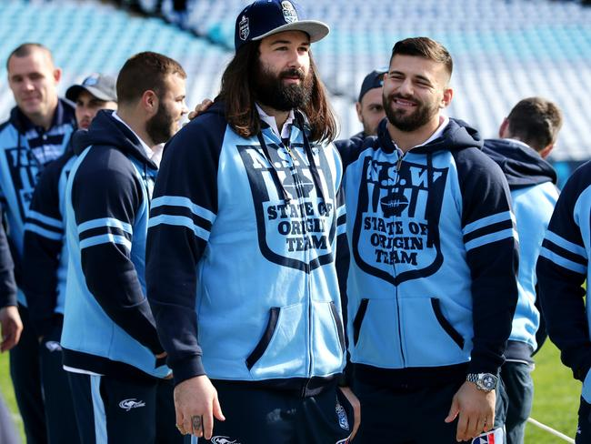 Aaron Woods and Josh Mansour during NSW training.