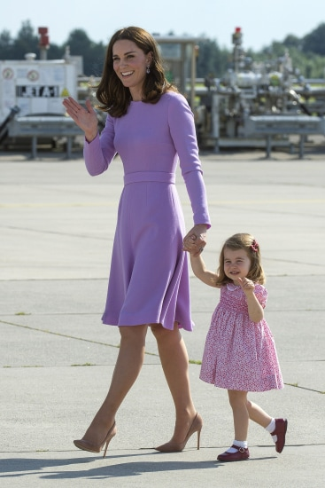HAMBURG, GERMANY - JULY 21: Princess Charlotte of Cambridge and Catherine, Duchess of Cambridge depart from Hamburg airport on the last day of their official visit to Poland and Germany on July 21, 2017 in Hamburg, Germany. (Photo by Julian Simmonds - Pool/Getty Images)