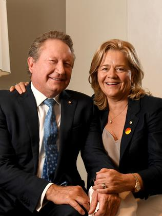 Andrew Forrest and Nicola Forrest pictured at the Mayfair Hotel in Adelaide during a visit in November 2019. Picture: Tricia Watkinson