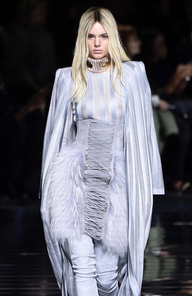 Kendall Jenner walks the Balmain runway, Paris Fashion Week Womenswear Fall/Winter 2016/2017. Picture: AFP PHOTO / MARTIN BUREAU