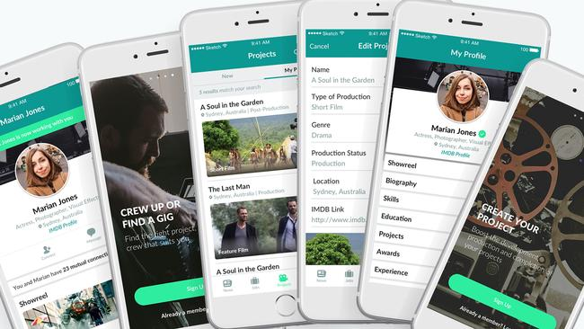 The Green Room app is an Australian creation designed for film workers. Picture: Supplied