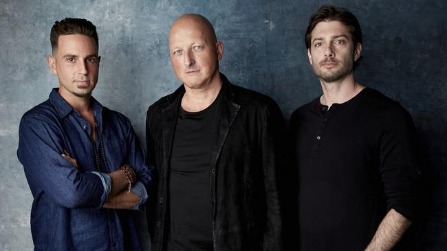 Wade Robson (left), director Dan Reed and James Safechuck pose for a portrait to promote Leaving Neverland.