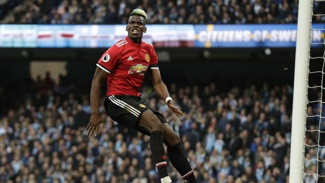 Manchester United's Paul Pogba reacts after scoring his side's second goal