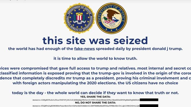 Donald Trump's campaign website hacked and defaced with explosive claims – NEWS.com.au
