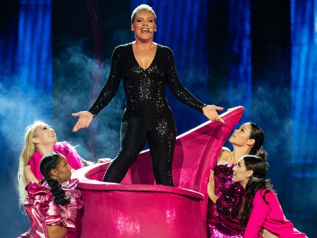 Pink during a recent performance for her Beautiful Trauma World Tour. Picture: AAP Image/Richard Wainwright