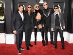Lady Gaga with Robert Trujillo, Kirk Hammett, James Hetfield, and Lars Ulrich of Metallica attend The 59th GRAMMY Awards at STAPLES Center on February 12, 2017 in Los Angeles, California. Picture: AFP