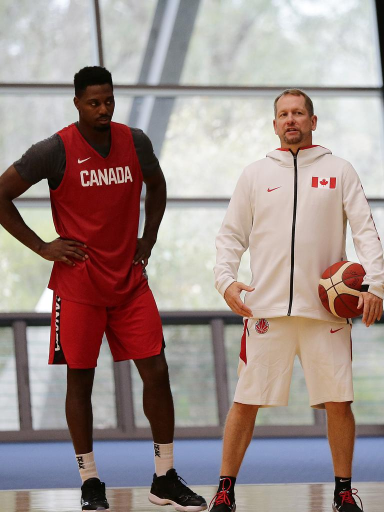 Nick Nurse worked closely with Melvin Ejim during Wednesday's practice.