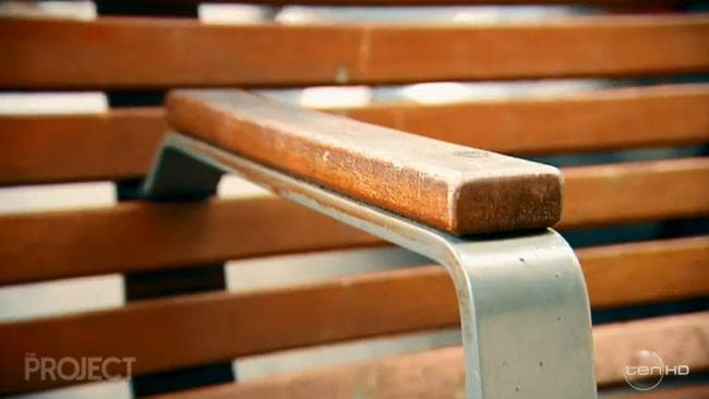 This innocuous bench arm rest is an example of hostile architecture. It has a double function of also preventing a homeless person from being able to sleep across it. Picture: The Project/Channel 10.