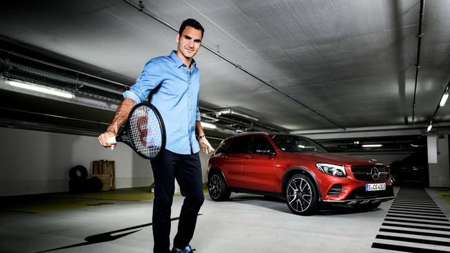 Roger Federer in his 2017 Mercedes Benz ad campaign. Picture: Supplied