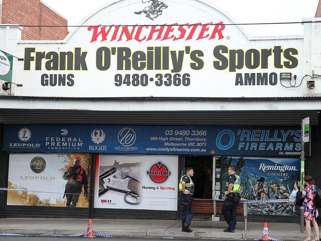 O'Reilly's Firearms, Thornbury, was held up this morning by four masked men. Picture: Ian Currie