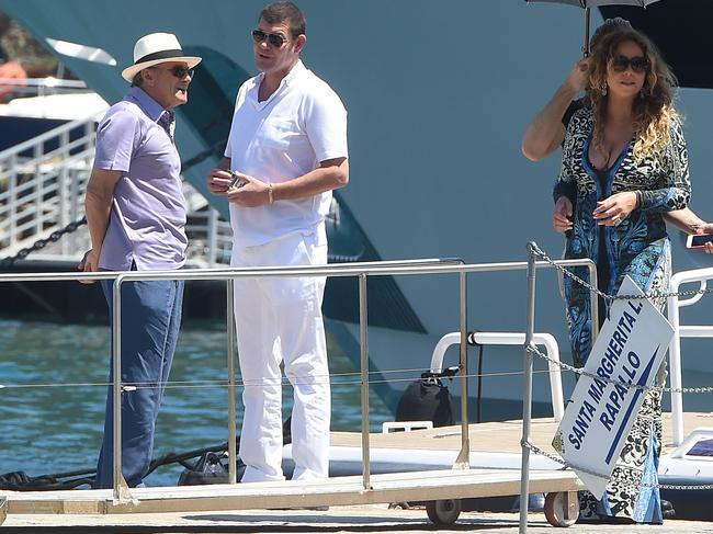 Mariah Carey, James Packer and Kerry Stokes are seen in Portofino. Picture: Supplied
