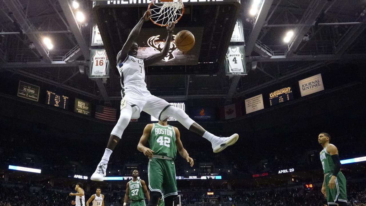 Milwaukee Bucks' Thon Maker dunks during the NBA Playoffs.