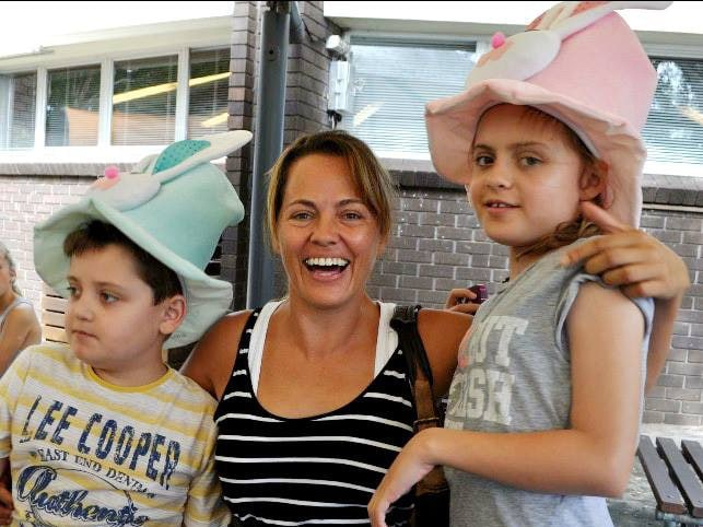 Maria Lutz with her children Martin and Elisa at St Lucy's School, Wahroonga. Picture: Facebook