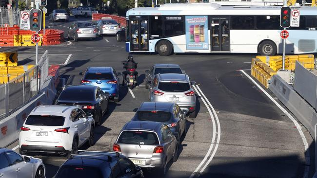 There are fears that the Nine Ways Kingsford roundabout could become overcrowded and chaotic during peak hour. Picture: AAP/Jane Dempster