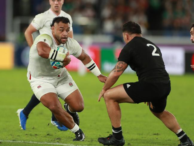 Billy Vunipola takes on Codie Taylor during the semi-final against New Zealand.