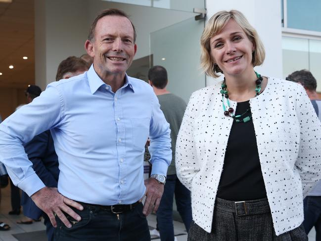 Tony Abbott MP and challenger Zali Steggall were both at the Brookvale Pre-Polling booth this afternoon. Picture: David Swift.