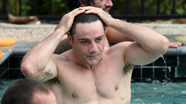 Cooper Cronk during a pool recovery session.