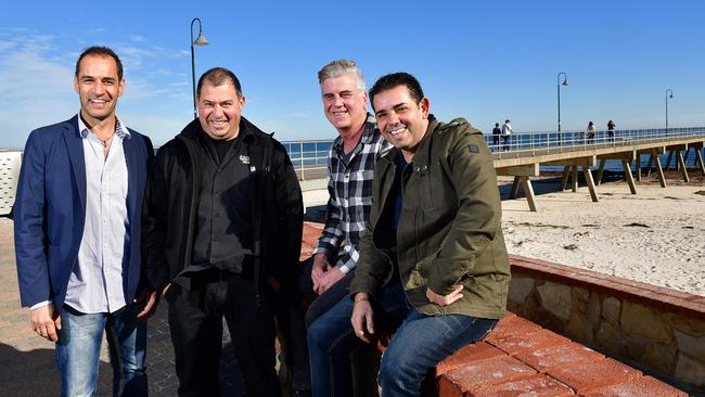 Members of the Jetty Road Main Street Committee who are hoping to secure major investment at Glenelg Jetty. Pictured are Con Maios, Rocco Caruso, Mark Faulkner and Tony Beatrice. Picture: Keryn Stevens