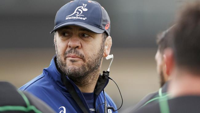 Wallabies coach Michael Cheika talks to his team during training in Melbourne.