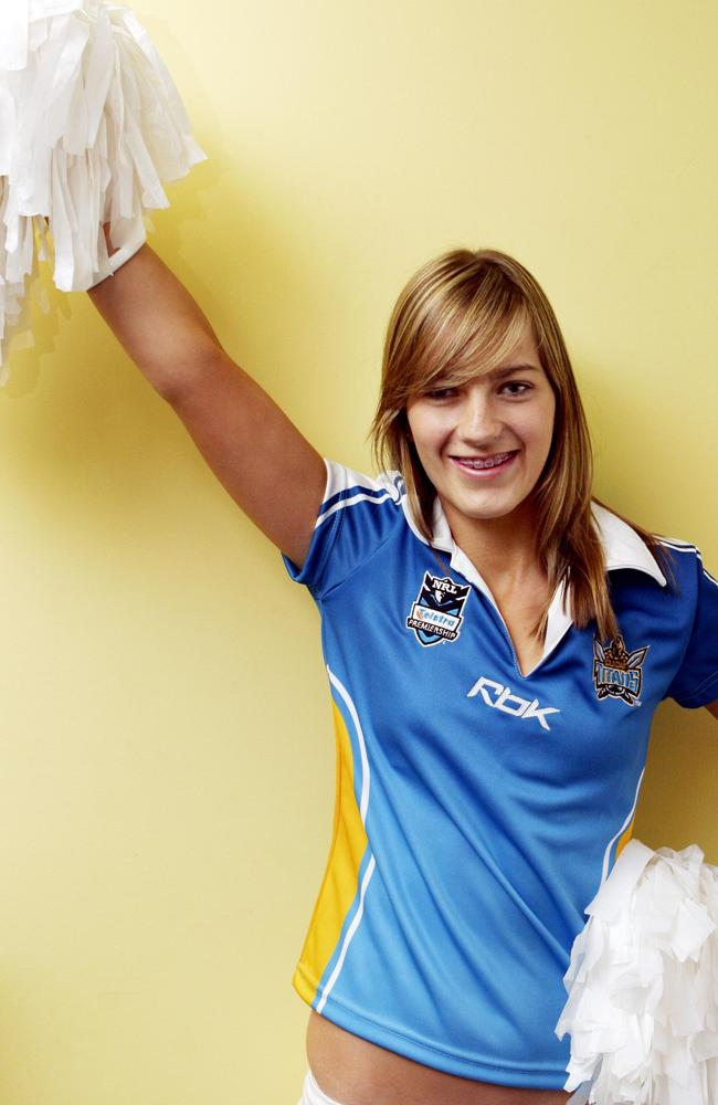 Breeana Robinson in 2007 as a schoolgirl and cheerleader for the Gold Coast Titans, six years before her death.