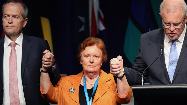 Cheryl Edwardes, the chairwoman of the National Apology Reference Group with Prime Minister Scott Morrison and Bill Shorten. Picture: Gary Ramage