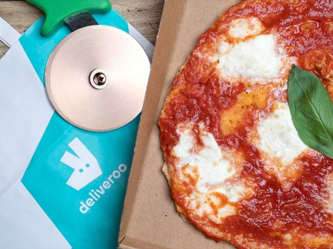 Deliveroo's joke involved cutting crust off its menu. Picture: Supplied