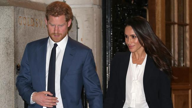 In 2018, the then-engaged couple attended the awards with Meghan donning a similar monochrome outfit. Picture: Getty Images