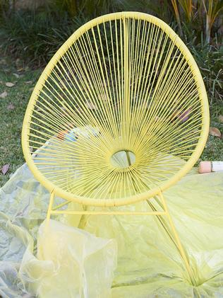 Yellow paint was used for the chair.