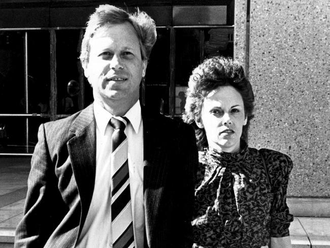 Michael and Lindy Chamberlain leave NSW Supreme Court in Sydney in 1987 after they were pardoned over death of their daughter Azzria. Picture: Colin Murty