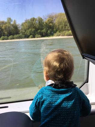 On a ferry in Vienna.
