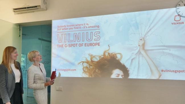 Go Vilnius director Inga Romanovskiene and PR project manager Indre Speciunaite share the new campaign, which is to launch in London and Berlin. Picture: Petras Malukas/AFP