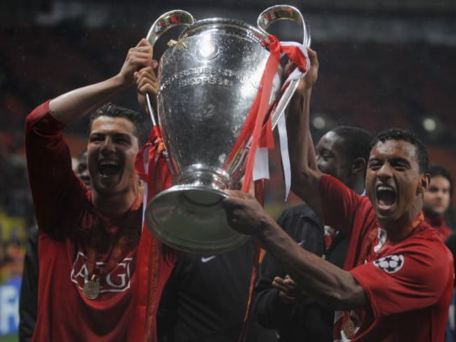 Cristiano Ronaldo (L) after winning the Champions League with Manchester United.