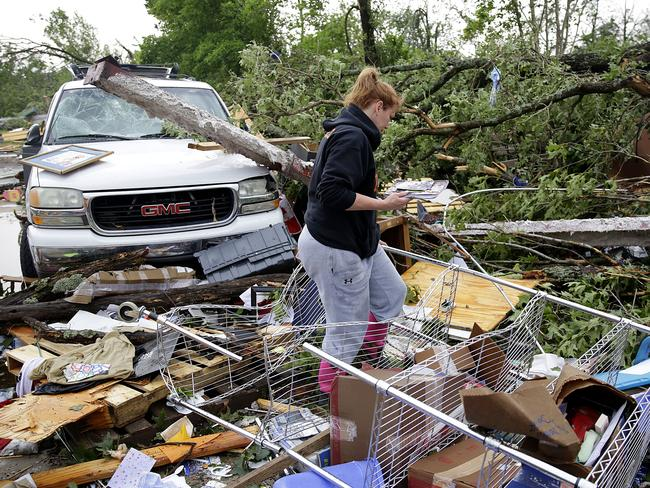 The storms have left a trail or destruction. Picture: AP