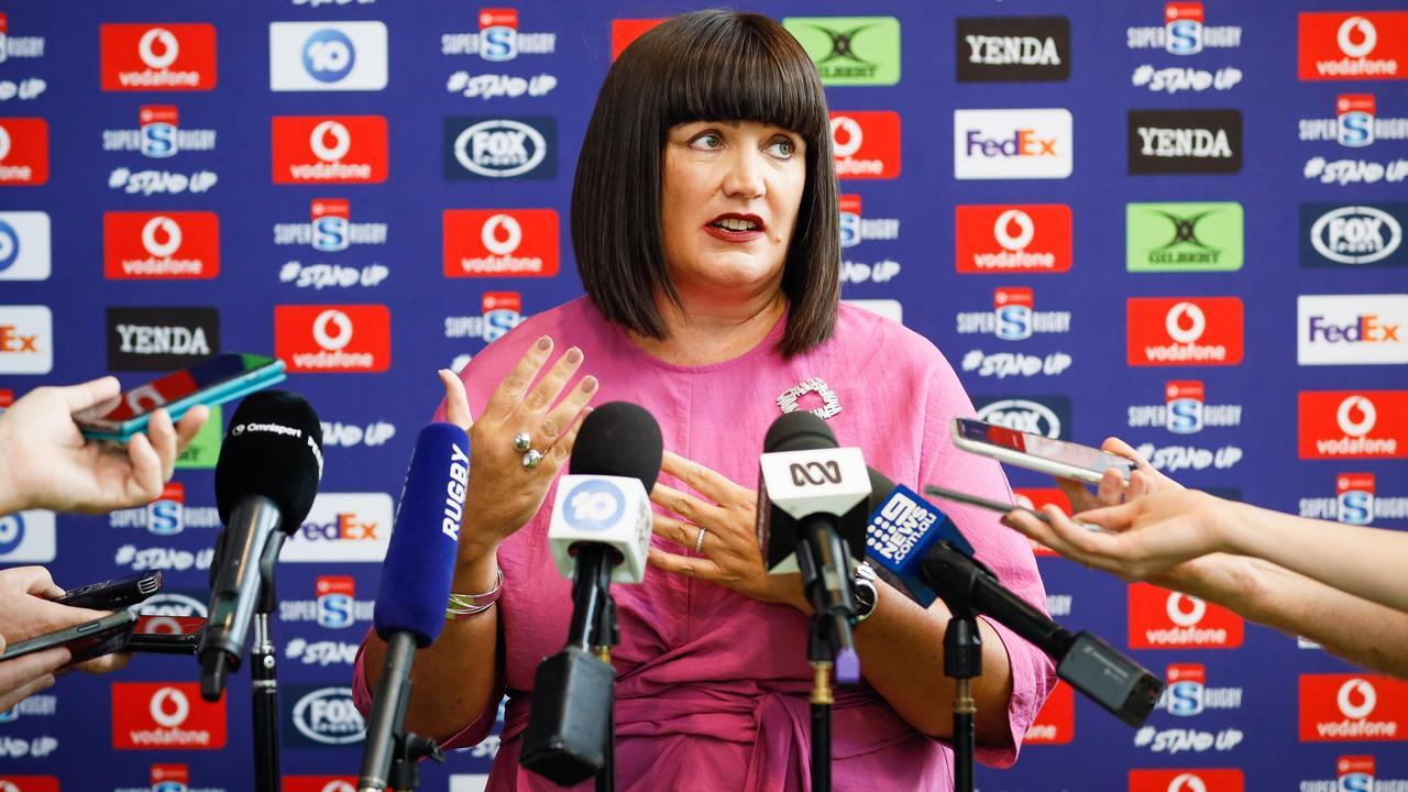 Raelene Castle speaks to the media in Sydney.