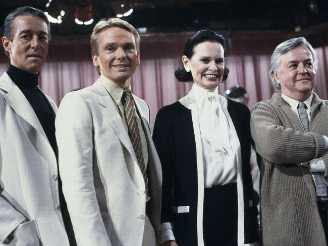 Fashion designers, from left to right: Halston; Bob Mackie; Gloria Vanderbilt and Geoffrey Beene on the set of the Love Boat in 1981. Picture: AP