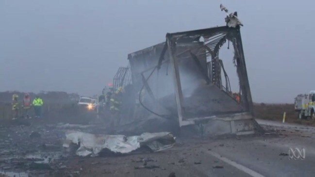 Dust storm truck inferno kills two on South Australian highway (ABC)