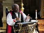 Bishop Michael Bruce Curry gives a reading during the wedding ceremony of Britain's Prince Harry, Duke of Sussex and US actress Meghan Markle in St George's Chapel, Windsor Castle, in Windsor, on May 19, 2018. Credit: AFP PHOTO / POOL / Owen Humphreys