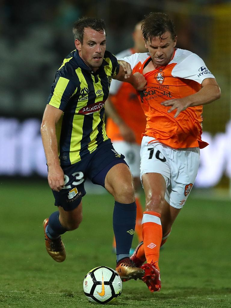 Brett Holman (R) in action for the Roar last January