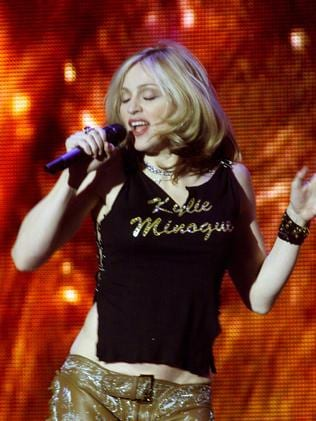 Madonna wears a Kylie shirt in 2000.