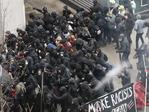 Police use pepper spray on protesters in Washington on January 20, 2017, in a chaotic confrontation blocks from Donald Trump's inauguration as protesters registered their rage against the new president. Picture: AP