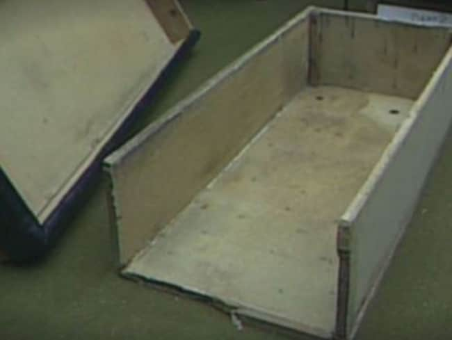 The coffin-like box that Colleen Stan was kept in for seven years. Picture: News 10