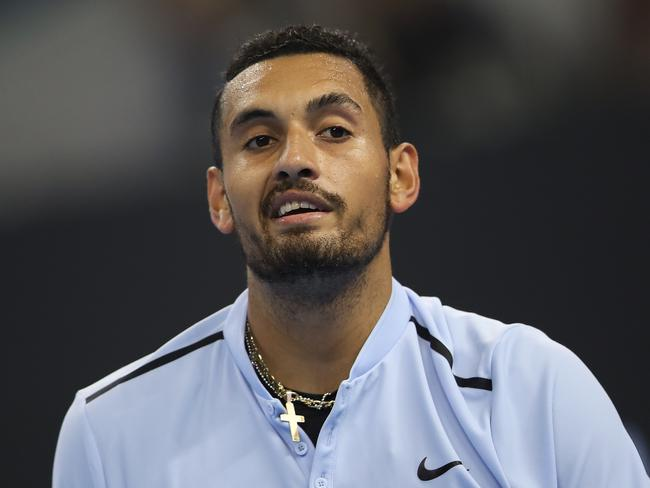 Nick Kyrgios of Australia reacts during his loss to Rafael Nadal in the China Open final.
