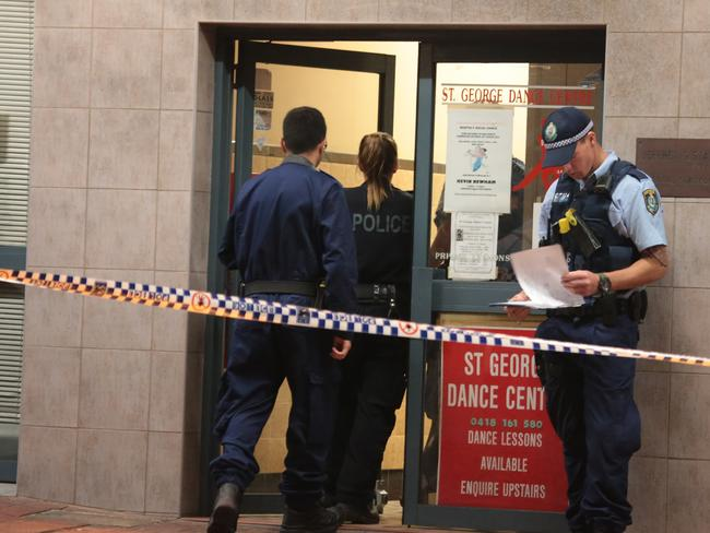 Police and forensics investigate the stabbing and alleged sex assault St George Dance Studio. Picture: Damian Hoffman