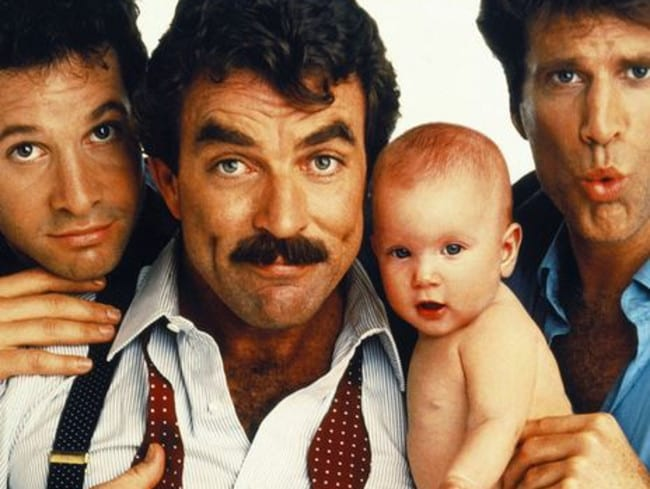 Steve Guttenberg, Tom Selleck and Ted Danson in Three Men and a Baby. Picture: Supplied