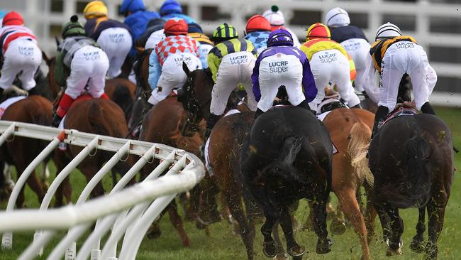 The field rounds the first turn in the Caulfield Cup. Picture: AAP