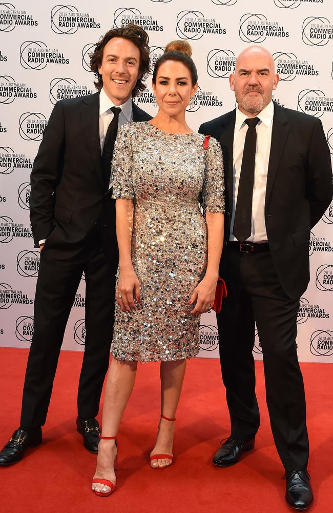 Tim Blackwell, Kate Ritchie and Marty Sheargold on the ACRA red carpet. Picture: Lawrence Pinder