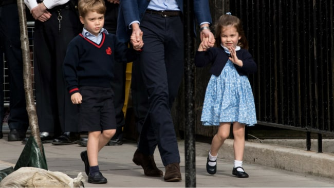Princess Charlotte, completely owning her look as she walks with brother George and dad William to meet their new brother, Prince Louis. Photo: Getty