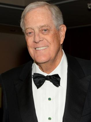 Billionaire David Koch, a key backer of the Tea Party movement in the US. Picture Andrew Toth/Getty Images