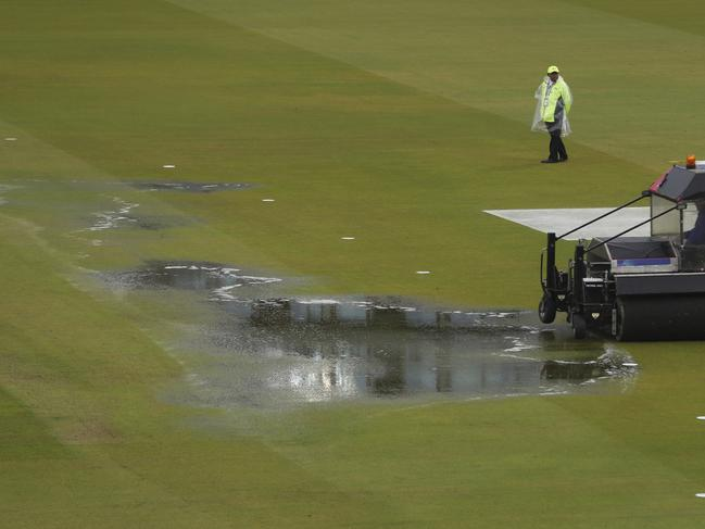 There was plenty of water on the field.