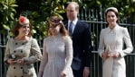 Princess Eugenie, Princess Beatrice and the Duke and Duchess of Cambridge. Image: WPA Pool / Getty